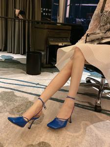retro mulheres de salto alto estilo vestir sapatos Itália vento tipeback summe sandálias genuíno couro dedos dos pés quadrados sapatos único