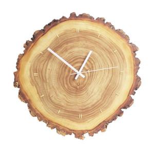Madeira Sólida Anual Anel Relógio de parede Embutidos Copper Nordic madeira Clocks retro simples movimento do ponteiro Quartz Vivo