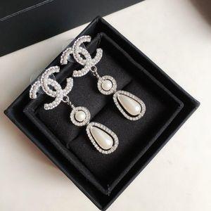 Pearl Stud Earrings Water Drop Beads Double Sided Diamond Brass Earrings High Quality 925 Silver Pin Earrings for Woman