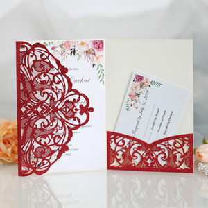 Gorgeous Red Lace Tri-fold Laser Cut Wedding Invitations Gold Glitter Editable Print Pocket Bridal Shower Invitation Kit with RSVP Card