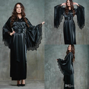 Черных Женщины Night Robe Халат невеста венчания невеста Одеяние Silk Satin Кружево пижама пижама Длинного Lingeries Люкс Вечерний душ Robe