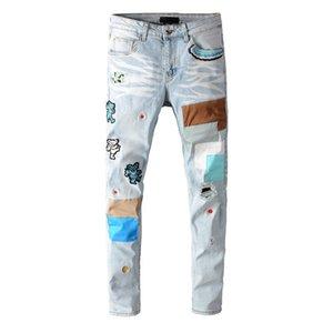 Tasarımcı Erkek Jeans 2020 Yeni Geliş Erkek Tam Boy Moda Nakış Desen Pantolon Erkekler Rasgele Delik Fermuar Fly Jean Artı boyutu