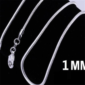925 Sterling Silver Plated Snake Chain Necklaces for Woman Lobster Clasps Smooth Chain Statement Jewelry Size 1mm 16 20 inch m02 . a236