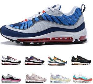 2020 Nike Air Max airmax 98 년 상위 98 남성 여성 실행 신발 건담 체육관 레드 간신히 로즈 98S 배 블랙 오일 그레이 팀 야외 신발 운동화 스포츠 운동화
