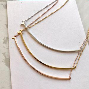 Gelin için bayan Tasarım kadınlar Parti düğün severler hediye takı için SICAK SAT moda paslanmaz çelik altın gülümsemek kolye bijoux