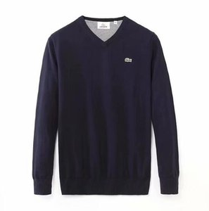 2019 broderie Crocodile Hommes Pull col V tricot Pullovers Pulls Hommes Long Pulls