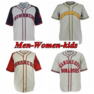 Custom Kansas City Monarchs 1942 Home Road Jersey Todas as mulheres masculinas costuradas juventude jerseys de beisebol retrô
