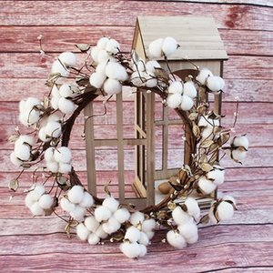 Natural Rustic Fixer Upper Cotton Wreath Farmhouse Wreath White Pip Berry Garland for Outdoor Front Door Interior Wall or Window Decor