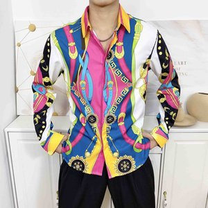 2020SS New Long Sleeve Men's Casual Shirt 3D Floral Print Men's Formal Shirt Fashion Slim Medusa Shirt