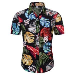 Verano brócoli floral hawaiano de la serie de la camisa 20ss casuales de la moda de camisetas de manga corta de solapa CS140