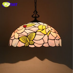 FUMAT Stained Glass Pendant Lights Butterfly Art Glass For Bed Room Living Room LED Pendant Light Fixtrures