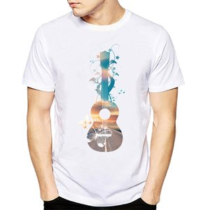 2020 Funny Artistic instrument ukulele guitar Printing T-Shirt Men's Fashion Cool Hipster Sunset dream butterflies Tops Tee