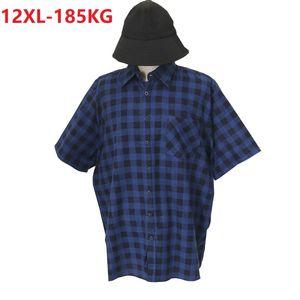 Camisas casuales de los hombres Hombres de la tela escocesa de verano Talla grande 8xl 10xl 12xl manga corta hombre más grande Hombre casero solja algodón camisa azul bolsillos