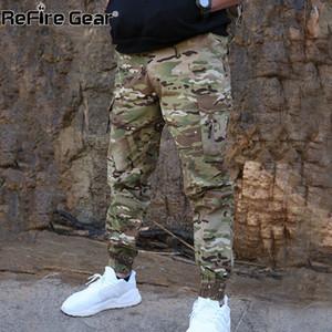 ReFire Dişli Kamuflaj Taktik Jogger Pantolon Erkekler Ordusu Savaş Airsoft Askeri Pantolon Günlük Su geçirmez Moda Kargo Pantolon CX200728