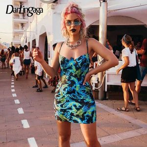 Darlingaga Китайский стиль дракона печати ремень сексуальное платье мини Bodycon Backless платье партии Фестиваль Женщины Летние платья сарафан