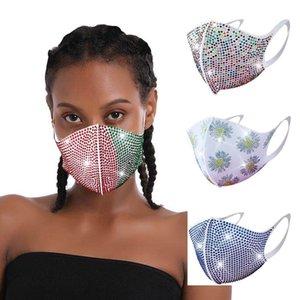 Woman Rhinestone Mask Lady Sequin Rhinestone Protective Mask Dustproof Washable Reusable Elastic Earloop Face Mouth Masks