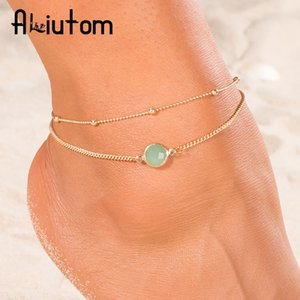ALIUTOM 2019 Boho Opal Female Anklets Barefoot Crochet Sandals Foot Jewelry Leg New Anklets On Foot Ankle Bracelets For Women T200714