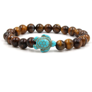 Tortoise Natural stone bracelet turtle charm Agate Tiger eye turquoise Stone beads women mens bracelets will and sandy fashion jewelry