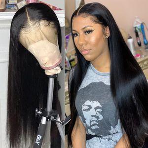 Las pelucas del frente del cordón del cabello humano Pre desplumados 13x4 brasileña Alta Definición frontal recto peluca delantera del cordón del pelo humano pelucas sin cola pelucas llenas del cordón