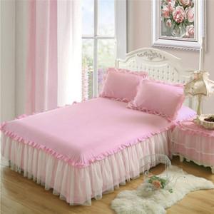 Nueva ropa de cama fija INS nórdico princesa color sólido estilo falda de la cama individual Doble cama de algodón cubierta de loto del cordón de la hoja Hoja antideslizante funda de almohada