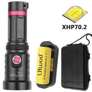 XHP70.2 de buceo bajo el agua 100m Grado llevó la antorcha a prueba de agua de alimentación 26650 o 18650 Bombillas Linterna Litwod