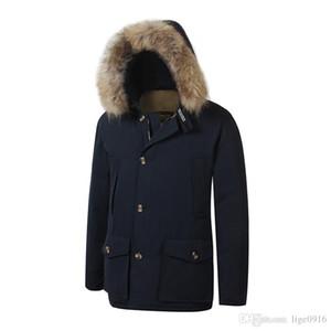 2018 Marca New woolrich Removeable Raccoon Fur Mens Arctic de Down Parka casaco quente grossa ao ar livre Casaco de Inverno