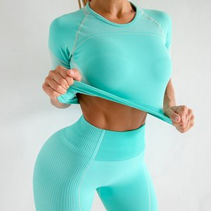 Sport Seamless Yoga Crop Top Women Green Short Sleeve Yoga Shirt Elastic Gym Fitness Tight Cotton Hollow Out Workout Set T-Shirt T200713