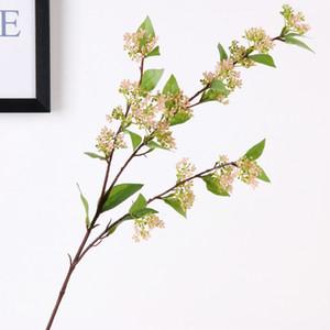 5 Pcs Lot 76cm Simulation single branch 3 fork pearl fruit artificial plants fake flower wedding decoration layout wall flower arrangement
