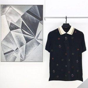 2020 أزياء الصيف الجديدة إيطاليا النحل ستار القلب التطريز مخطط أوروبا بولو شيرت الرجال النساء T القطن القميص عادية المحملة العاب الكرة والصولجان