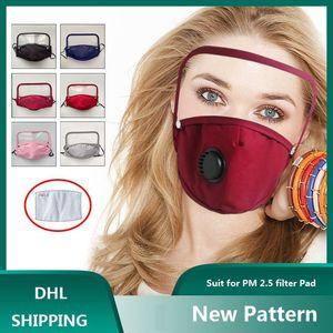 Erwachsene Gesichtsmaske mit abnehmbarem Schild Cotton Gesichtsmasken mit Atemventil PM2.5 Mundmaske Anti-Staub wiederverwendbarer Stoffmaske DHB788