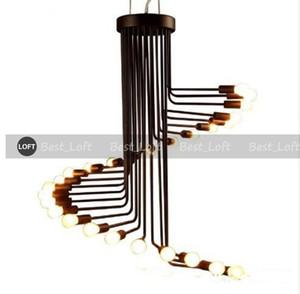 American country loft retro pendant light minimalist Coffee Museum wrought iron bar restaurant spiral staircase lamp E14 bulb