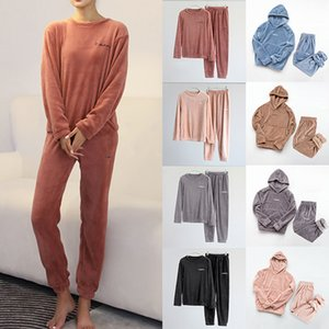 Kış Kadınlar Pijama Katı 2 adet Casual Gevşek pijamalar Uzun Kollu ve Pantolon Flanel Pijama Takımı Ana Giyim Gecelik Isınma