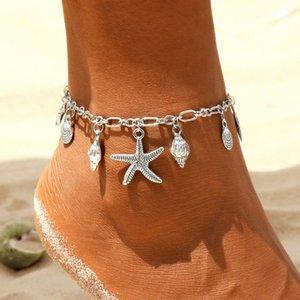 Vintage Anklets for Women Starfish Shell Pendant Anklet Summer Beach Foot Ankle Bohemian Anklet Bracelet On Leg Jewelry T200714