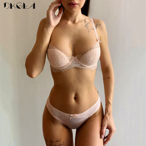 Fashion Young Girl Bra Set Plus Size D E Cup Thin Cotton Underwear Set Women Sexy Brassiere Pink Lace Bras Push Up Embroidery Y200708