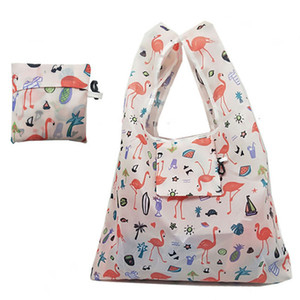 2020 Women Foldable Eco Shopping Bag Tote Pouch Portable Reusable Grocery Storage Bag Cactus Flamingo Dots Free Shipping