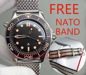 New Ceramic Bezel Diver Homens 300M Bond 007 Nato No Time to Die 210 42MM Movimento automático Mens relógio mecânico malha Banda Relógios de pulso