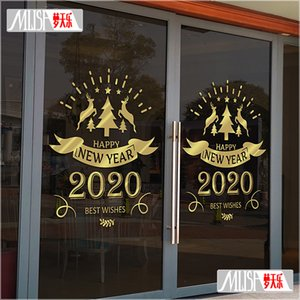 European and American Style 2020 Happy New Year Glass Door Stickers Christmas Elk Elements New Years Day Layout Wall Stickers Window Sticker