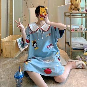 Pure cotton pajamas female sweet and lovely ims Pajamas academic style Princess collar Princess dress nightdress loose