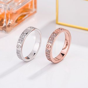 high quality Card Home Star S925 pure silver two rows of diamond ring Love couple ring is a pair of men and women can wear Band Rings