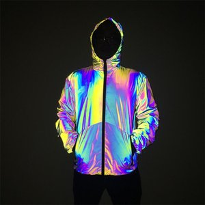 Autumn Winter Mens Night Colorful Reflective hooded Jacket Gradient Color Zipper Hooded Hip Hop Style Coats Casual Mens Clothing