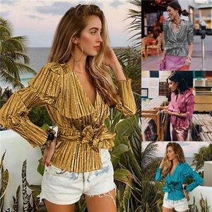 Shining Slim Womens Bow Shirts Sexy V Neck Striped Women Cardigan Blouses High Street Long Sleeve Women Top Clothing