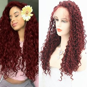 Burgundy Synthetic Lace Front Wig Free Part Heat Resistant Fiber Hair Kinky Curly Wine Red Synthetic Lace Front Wig With Baby Hair