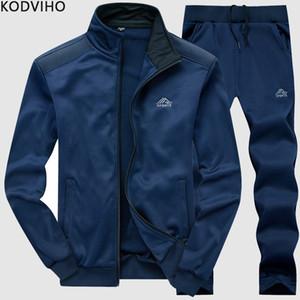 Tracksuit Мужчины 2 шт Тренировочный костюм Мужская весна осень Твердые костюмы Set Man Sportwear наборы Бейсбол воротник куртки + Sweatpants L