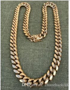 14mm Men Cuban Miami Link Chain 18k Gold Plated 270 Grams HEAVY