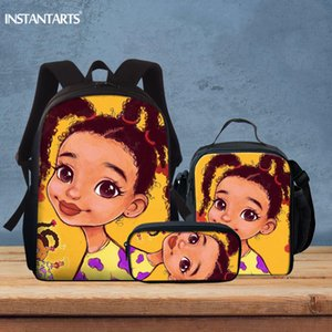 INSTANTARTS Симпатичные Девочки печати мешок школы Setd для детей подарков вскользь Big Schoolbag плеча рюкзак Satchel Rucksack Mochilas T200709