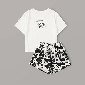 2020 Cow Gedruckt Pyjama für Frauen nightie Cotton Startseite Kleidung Pijama Set femme Pyjama Kurzarm T-Shirt + Shorts Y200708