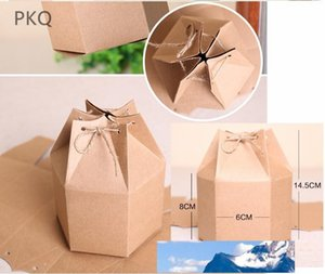 Small Kraft packaging gift box vintage kraft gift cardboard box packing with rope