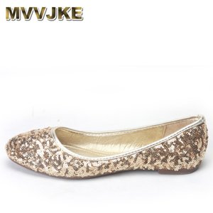 MVVJKE Lady pailletée Tissu Bling Chaussures danse Ballet confortable Mocassins Bout rond Automne Slip-on sans talon Verni Noir Or