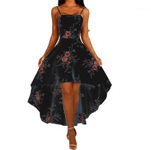 Line Asymmetrical Ladies Dress Sexy Club Party Dresses Floral Womens Dresses Spaghetti Strap Slash Neck Backless A