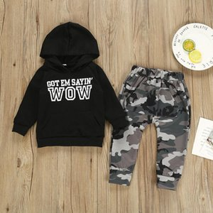 Boys' Suit spring And Autumn Long Sleeve Black Letter Hooded Sweater Camouflage Harun Pants European And American Casual Children's Two piec